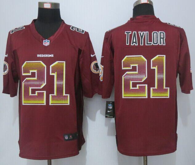 Nike Redskins 21 Sean Taylor Red Pro Line Fashion Strobe Jersey