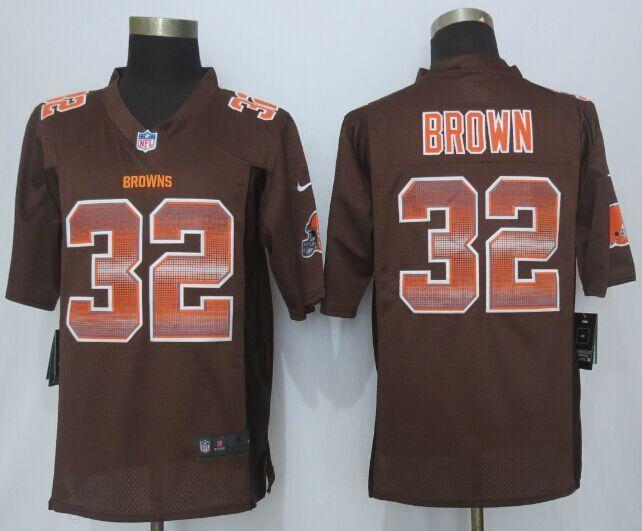 Nike Browns 32 Jim Brown Brown Pro Line Fashion Strobe Jersey