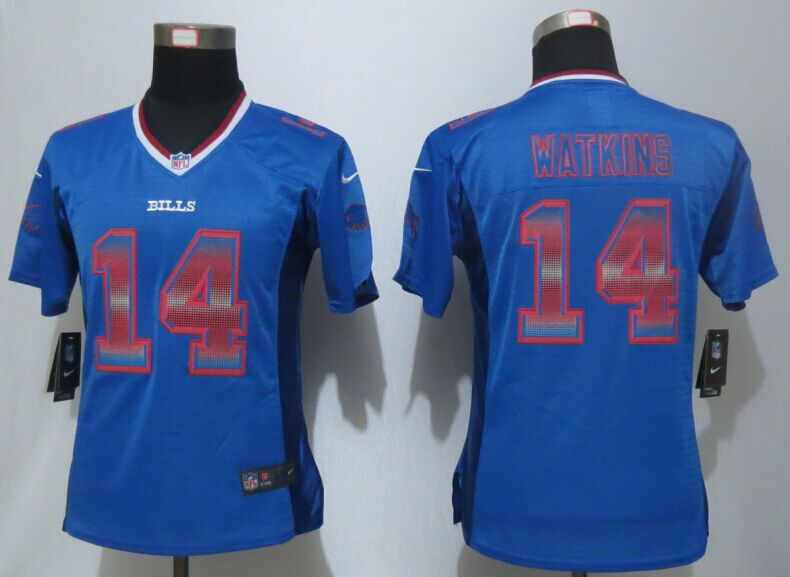 Nike Bills 14 Sammy Watkins Blue Pro Line Fashion Strobe Women Jersey