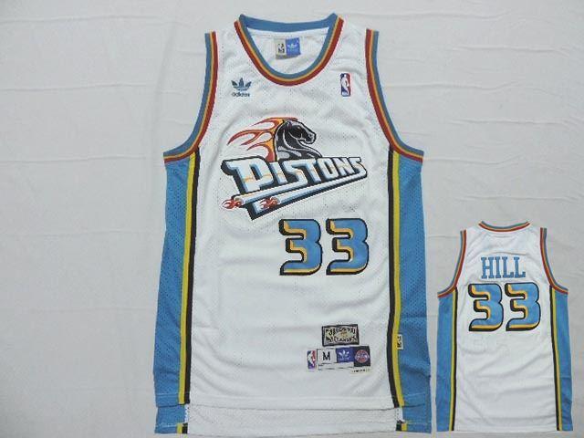 Pistons 33 Grant Hill White Hardwood Classics Jersey