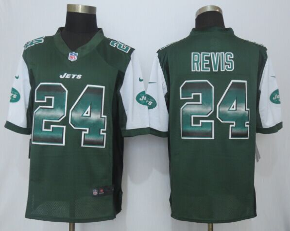 Nike Jets 24 Darrelle Revis Green Pro Line Fashion Strobe Jersey
