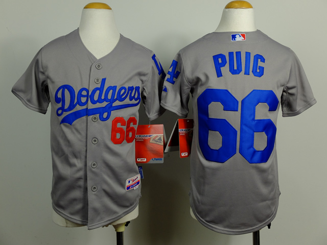 Dodgers 66 Puig Grey Youth Cool Base Jersey