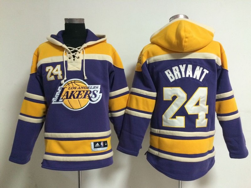Lakers 24 Kobe Bryant Purple All Stitched Hooded Sweatshirt