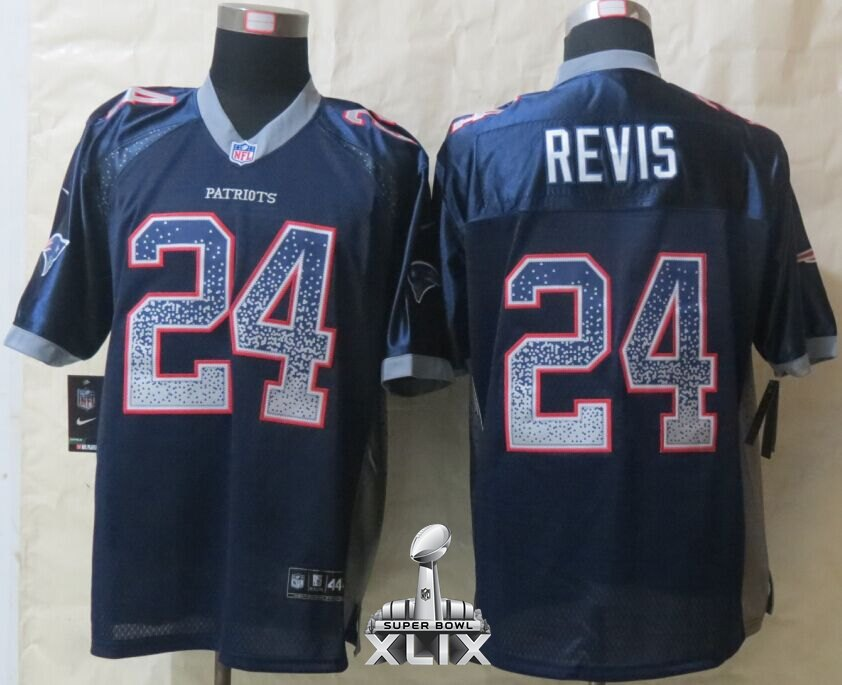 Nike Patriots 24 Revis Blue Drift Fashion Elite 2015 Super Bowl XLIX Jerseys