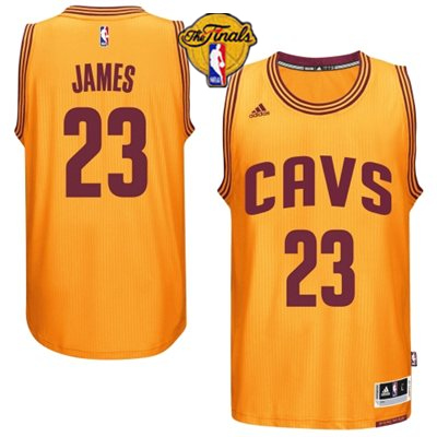 Cavaliers 23 James Yellow 2015 NBA Finals New Rev 30 Jersey