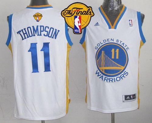 Warriors 11 Thompson White 2015 NBA Finals New Rev 30 Jersey