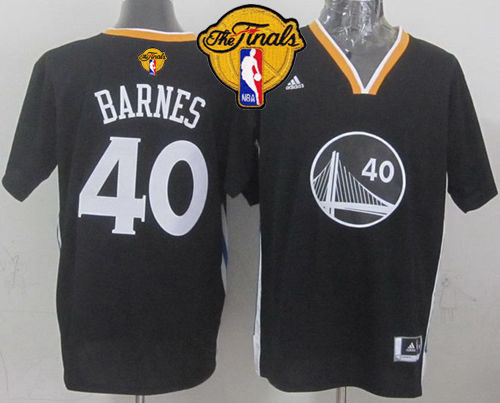 Warriors 40 Barnes Black Short Sleeve 2015 NBA Finals Jersey