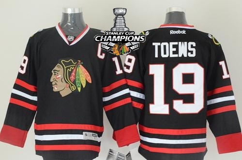 Blackhawks 19 Toews Black 2015 Stanley Cup Champions Jersey