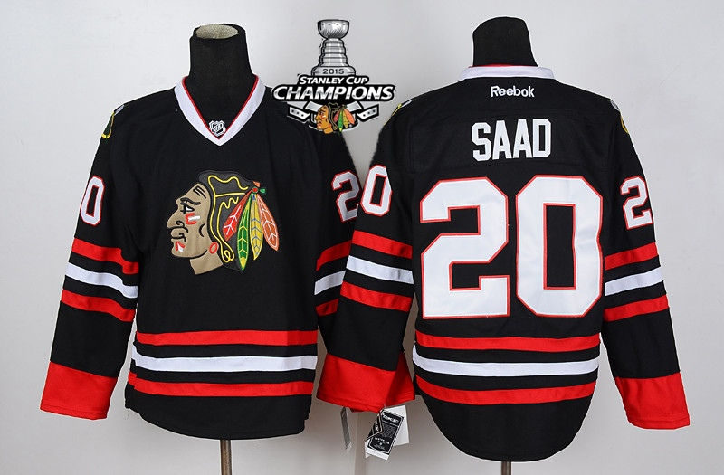 Blackhawks 20 Saad Black 2015 Stanley Cup Champions Jersey