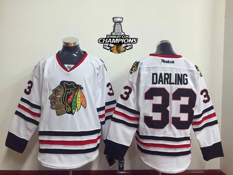 Blackhawks 33 Darling White 2015 Stanley Cup Champions Jersey
