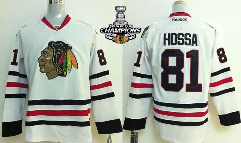 Blackhawks 81 Hossa White 2015 Stanley Cup Champions Jersey