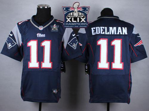 Nike Patriots 11 Edelman Blue 2015 Super Bowl XLIX Champions Elite Jerseys