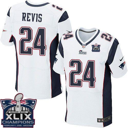 Nike Patriots 24 Revis White 2015 Super Bowl XLIX Champions Elite Jerseys
