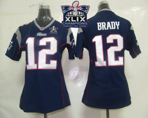 Nike Patriots 12 Brady Blue 2015 Super Bowl XLIX Champions Women Game Jerseys