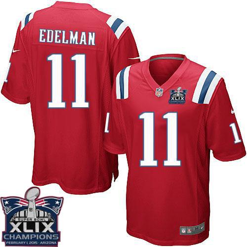 Nike Patriots 11 Edelman Red 2015 Super Bowl XLIX Champions Youth Game Jerseys
