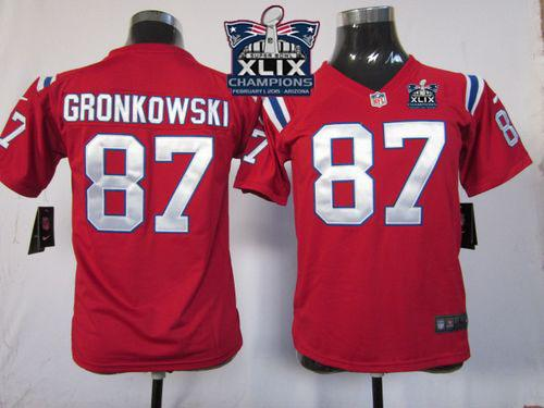 Nike Patriots 87 Gronkowski Red 2015 Super Bowl XLIX Champions Youth Game Jerseys