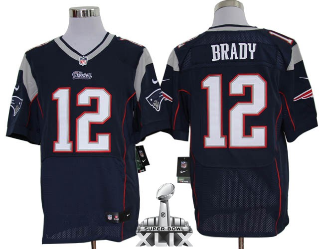 Nike Patriots 12 Brady Blue Elite 2015 Super Bowl XLIX Jerseys