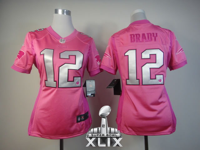 Nike Patriots 12 Brady Pink Love Women 2015 Super Bowl XLIX Jerseys