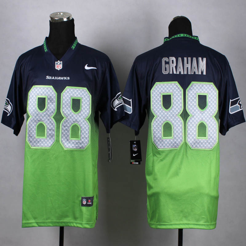 Nike Seahawks 88 Jimmy Graham Blue And Green Drift Fashion II Elite Jersey