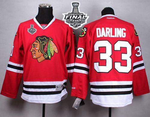 Blackhawks 33 Scott Darling Red 2015 Stanley Cup Jersey