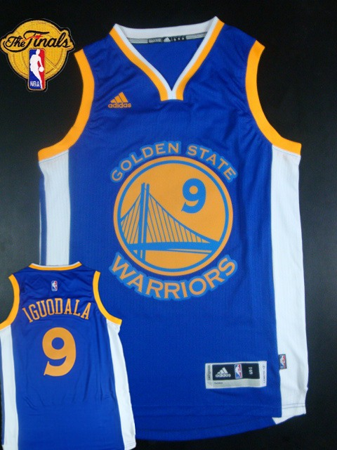 Warriors 9 Iguodala Blue 2015 NBA Finals New Rev 30 Jersey
