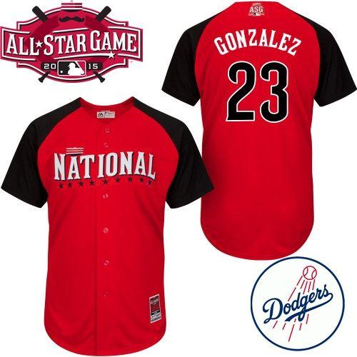 National League Dodgers 23 Gonzalez Red 2015 All Star Jersey