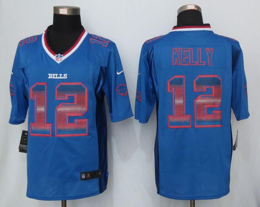 Nike Bills 12 Jim Kelly Blue Pro Line Fashion Strobe Jersey