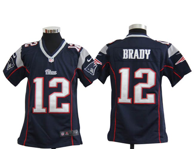 Nike Patriots 12 Tom Brady Navy Youth Game Jersey