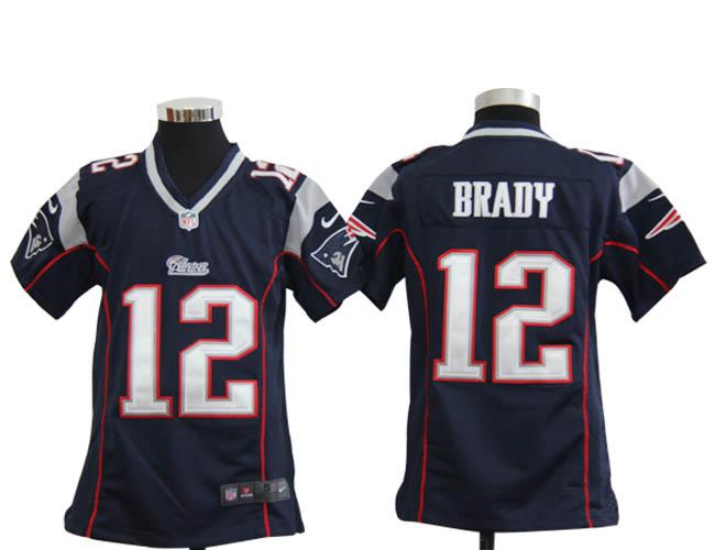 Nike Patriots 12 Tom Brady Navy Youth Game Jersey