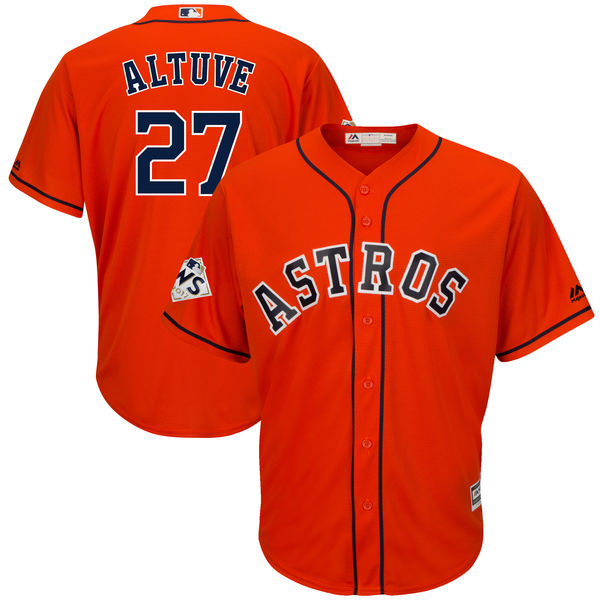 Astros 27 Jose Altuve Orange 2017 World Series Bound Cool Base Player Jersey