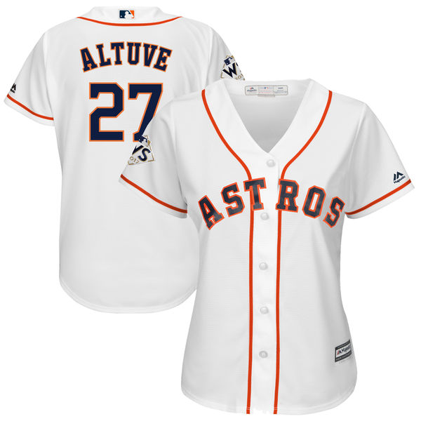 Astros 27 Jose Altuve White Women 2017 World Series Bound Cool Base Player Jersey
