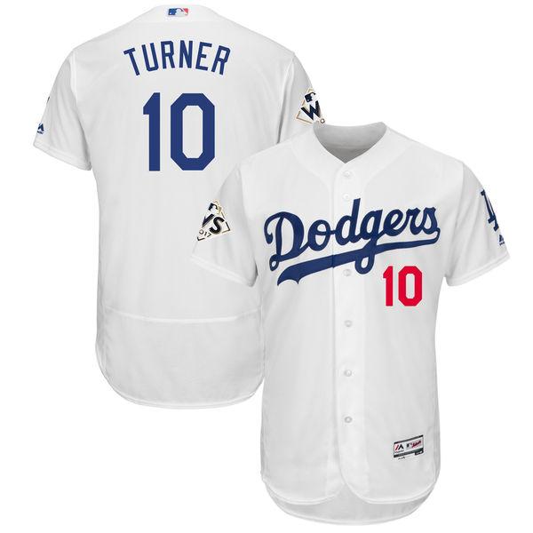Dodgers 10 Justin Turner White 2017 World Series Bound Flexbase Player Jersey