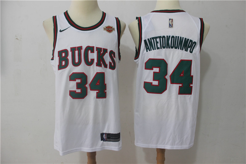 Bucks 34 Giannis Antetokounmpo White Nike Throwback Swingman Jersey