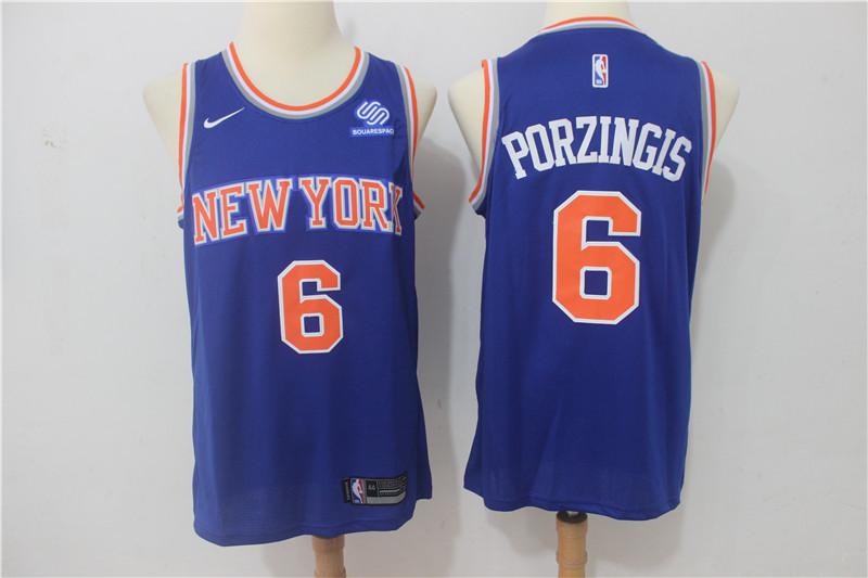 Knicks 6 Kristaps Porzingis Blue Nike Swingman Jersey