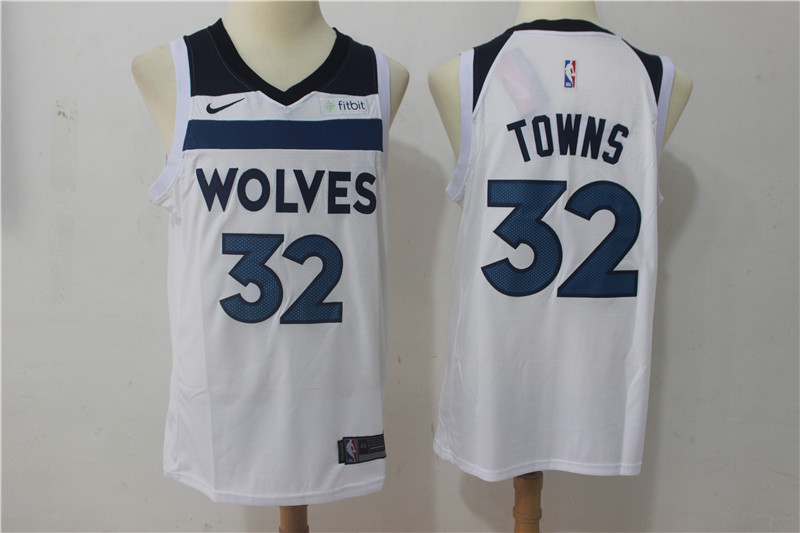 Timberwolves 32 Karl-Anthony Towns White Nike Swingman Jersey