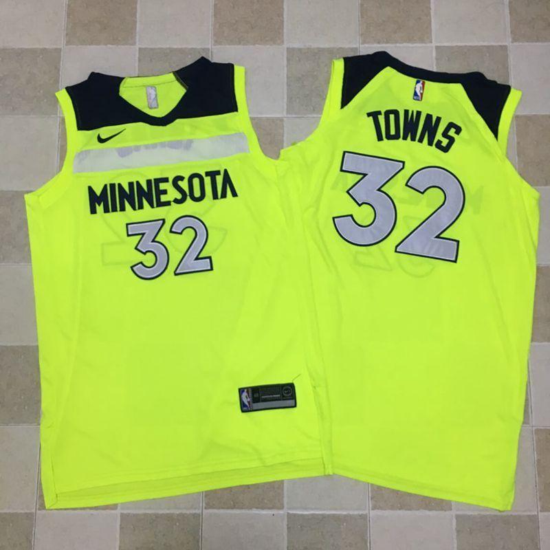 Timberwolves 32 Karl-Anthony Towns Fluorescent Green Nike Swingman Jersey