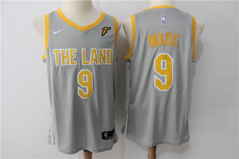 Cavaliers 9 Dwyane Wade Gray The Land Nike Swingman Jersey