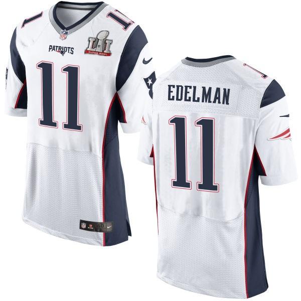 Nike Patriots 11 Julian Edelman White 2017 Super Bowl LI Elite Jersey