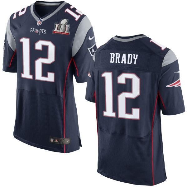 Nike Patriots 12 Tom Brady Navy 2017 Super Bowl LI Elite Jersey