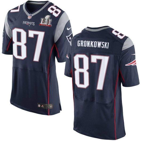 Nike Patriots 87 Rob Gronkowski Navy 2017 Super Bowl LI Elite Jersey