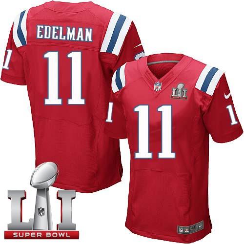 Nike Patriots 11 Julian Edelman Red 2017 Super Bowl LI Elite Jersey