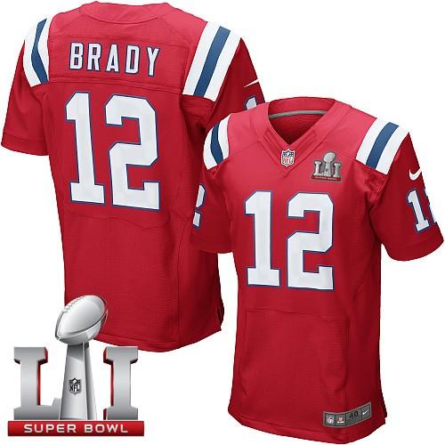 Nike Patriots 12 Tom Brady Red 2017 Super Bowl LI Elite Jersey
