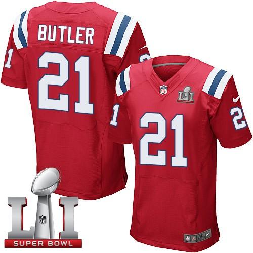 Nike Patriots 21 Malcolm Butler Red 2017 Super Bowl LI Elite Jersey