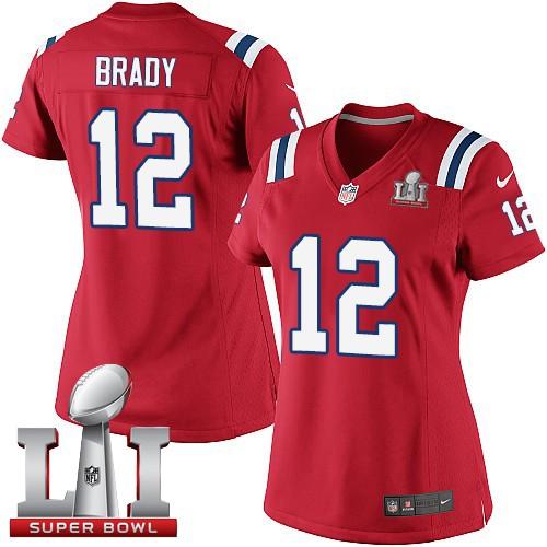Nike Patriots 12 Tom Brady Red Women 2017 Super Bowl LI Game Jersey