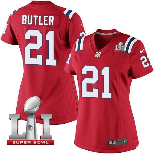 Nike Patriots 21 Malcolm Butler Red Women 2017 Super Bowl LI Game Jersey
