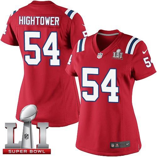Nike Patriots 54 Dont'a Hightower Red Women 2017 Super Bowl LI Game Jersey