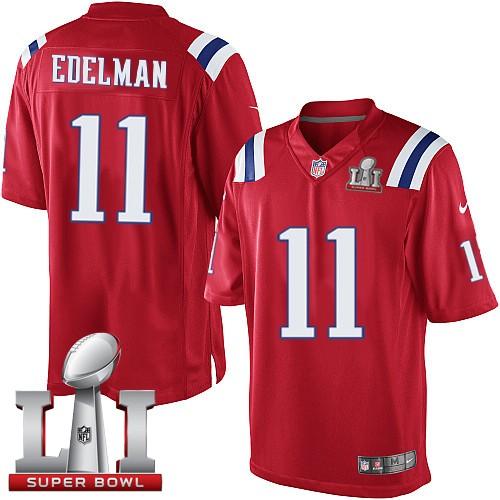 Nike Patriots 11 Julian Edelman Red Youth 2017 Super Bowl LI Game Jersey