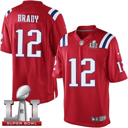 Nike Patriots 12 Tom Brady Red Youth 2017 Super Bowl LI Game Jersey