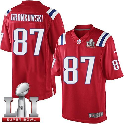 Nike Patriots 87 Rob Gronkowski Red Youth 2017 Super Bowl LI Game Jersey