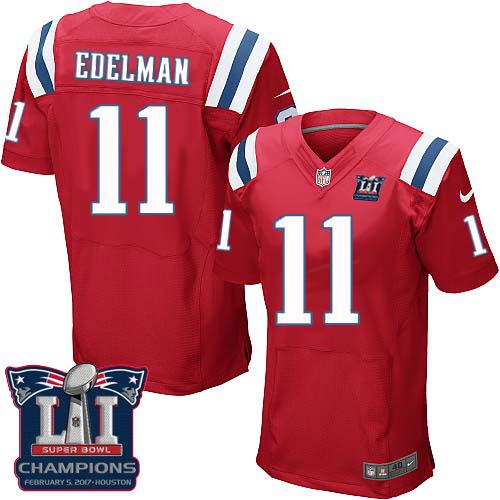 Nike Patriots 11 Julian Edelman Red 2017 Super Bowl LI Champions Elite Jersey